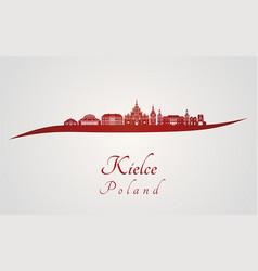 kielce skyline in red vector image