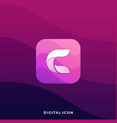 letter c digital media icon application template vector image