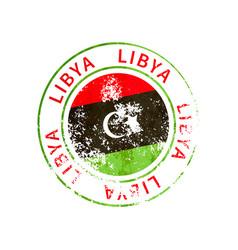 libya sign vintage grunge imprint with flag on vector image
