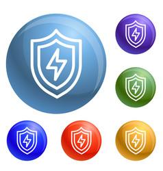 light shield icons set vector image