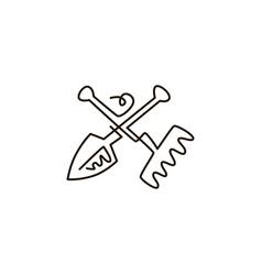 line icon rake and shovel garden tools vector image