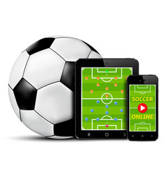 Live football and soccer online on mobile phone vector