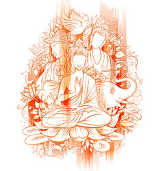 lord buddha in meditation for buddhist festival of vector image