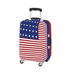 Luggage with usa flag vector image