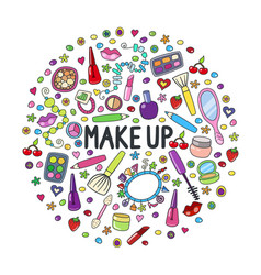 make up doodle logo in circle with lipstick cream vector image