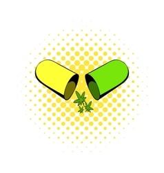 Marijuana pill icon comics style vector