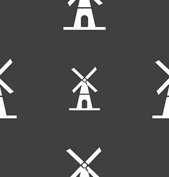Mill icon sign seamless pattern on a gray vector