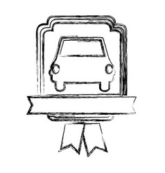 Monochrome sketch of automobile front in heraldic vector