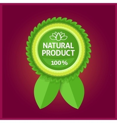 Natural product green label on violet vector image