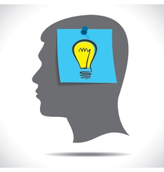 new idea bulb paper note in human head vector image