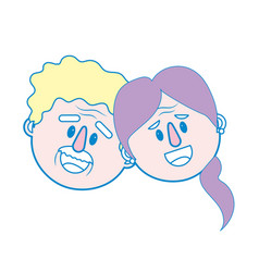 old couple face with hairstyle vector image