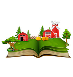 Open book with farm scene barn and trees on a whi vector