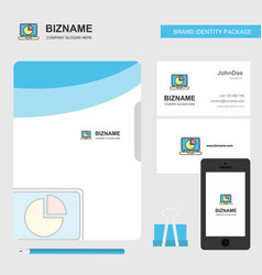 Pie chart on laptop business logo file cover vector