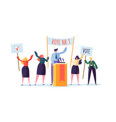 Political meeting with candidate speech election vector