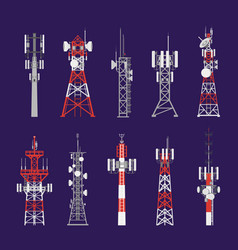 radio towers telecommunication antenna poles vector image