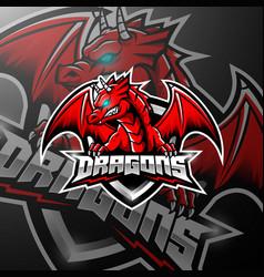 red dragon esports logo design vector image
