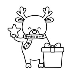 reindeer with star and gift decoration merry vector image