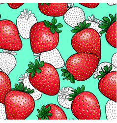 Seamless pattern red strawberry with black and vector