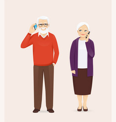 senior couple talking on phone vector image