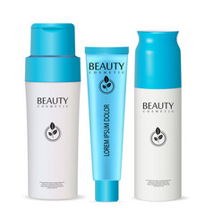 set of 3d cosmetic bottles for deodorant shampoo vector image