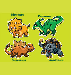 Set of baby dinosaurs vector