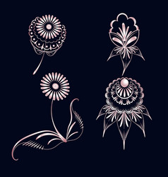 Set of elements of floral ornament from pink gold vector