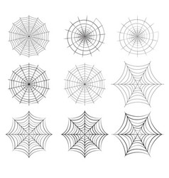 set spider web in silhouette style vector image