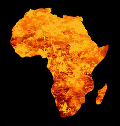 Silhouette of africa on fire vector