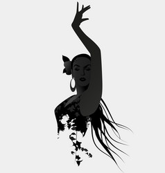 silhouette of spanish flamenco dancer isolated on vector image