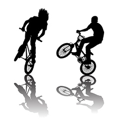 Silhouettes of bikers doing tricks vector image