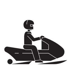 snowmobile black concept icon snowmobile vector image