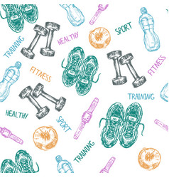 sport and fitness seamless pattern vector image
