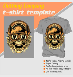 t-shirt template fully editable with skull helmet vector image