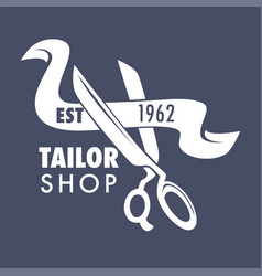 Tailor shop isolated icon scissors and ribbon vector