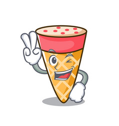Two finger ice cream tone character cartoon vector