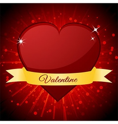 Valentine red heart and banner over starburst vector