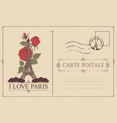 Vintage postcard with eiffel tower and roses vector