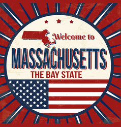 welcome to massachusetts vintage grunge poster vector image