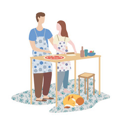 Woman and man cooking pizza together family vector