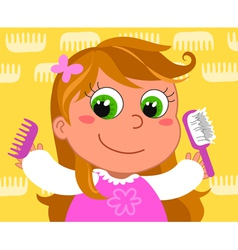 Young girl with brush vector