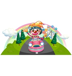 A happy female clown riding on a pink car vector image vector image