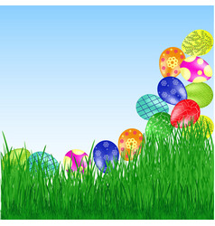 easter eggs roll into the grass vector image vector image