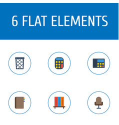 flat icons trash basket calculate armchair and vector image