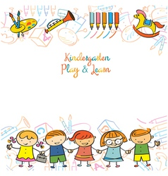Kindergarten Kids and Playground Frame vector image vector image
