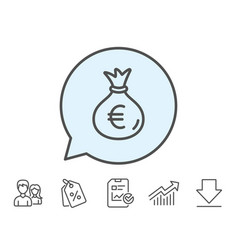Money bag line icon cash banking currency vector