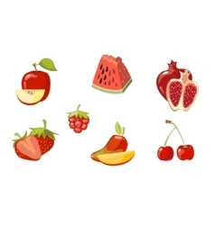 red fruits collection isolated over white vector image