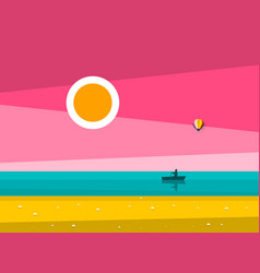 sunset ocean landscape sunrise sea with man on vector image vector image