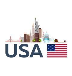 travel to usa new york skyline statue of liberty vector image vector image