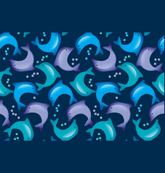 abstract dolphin seamless pattern in kid-style vector image vector image