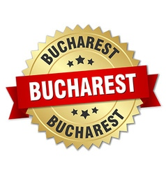Bucharest round golden badge with red ribbon vector